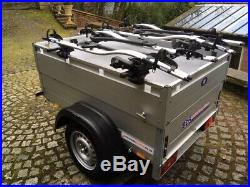 Aluminium Anssems camping trailer with 4 Thule bike racks & accessories