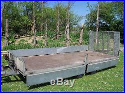 Bateson Hydraulic Tilt Bed Car Plant Transporter Trailer Drop Sides 14ft 2750kg