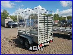 Car Trailer 2700kg with heavy duty ramp, high mesh and cover (mini digger)