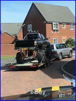 Car trailer tilt bed HAZELWOOD, low level, with winch, fits lwb Vans & low cars