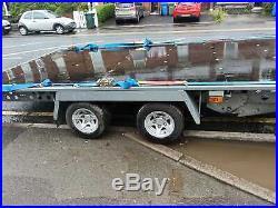 Flatbed Car Trailer-14' x 7'3 2600kg -Twin-Axle Tilt Bed inc. Spare wheel