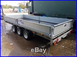 Ifor williams 16' flatbed trailer very good condition, 8car ramps, drop sides