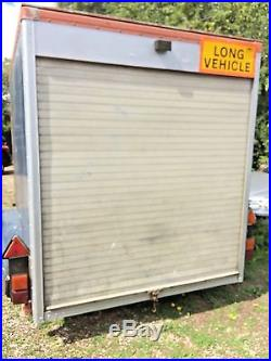 Large twin axle box trailer with roller shutter and jockey wheel