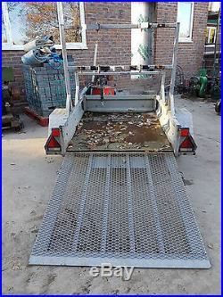 Pike Single Axle trailer c/w ramp, traffic lights, plant quad, mower £425+vat