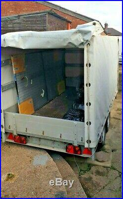 Trailer Flat Bed Twin Axle Braked Fold Down Sides Removable Canopy & SidePanels
